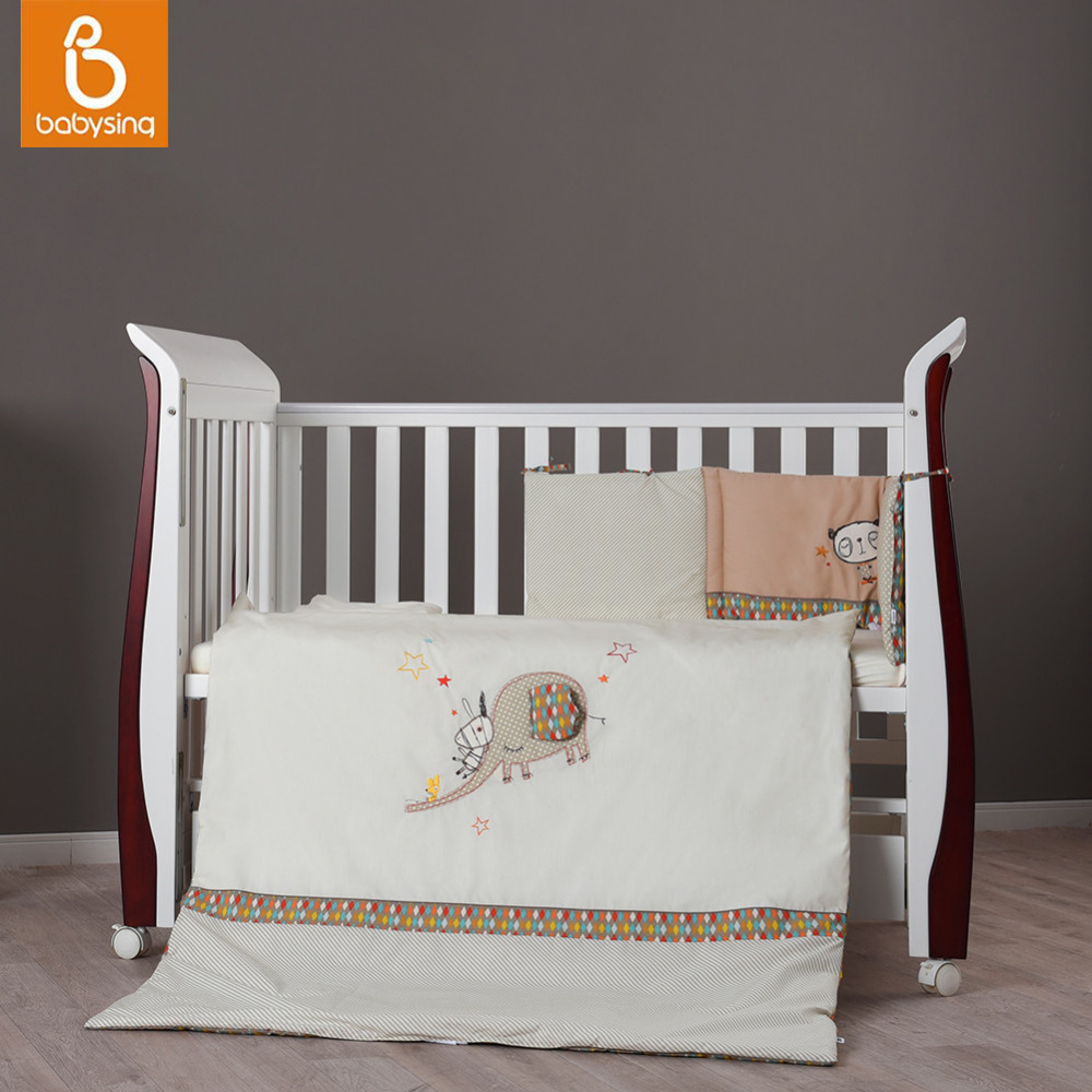 Baby Nursery Bedding Set Elephant Embroidery 100 Cotton