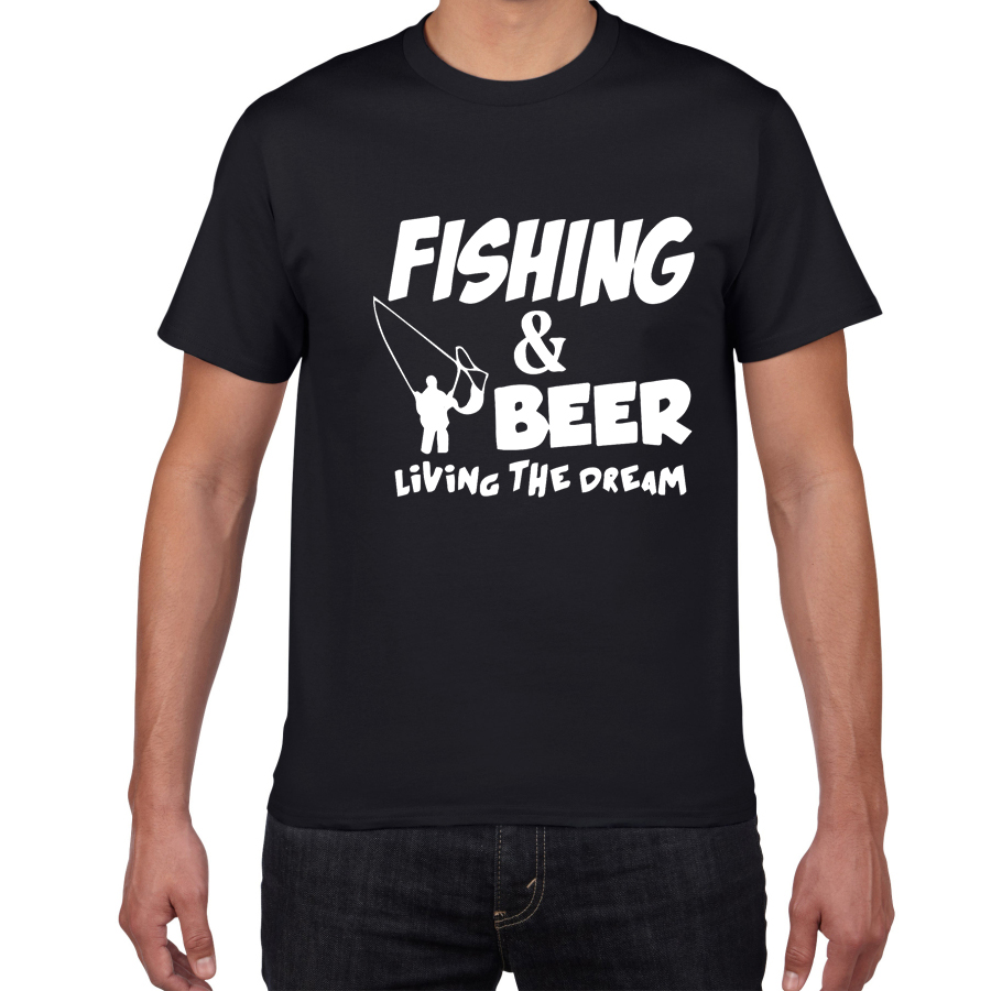 THIS GUY NEEDS A BEER Summer Cotton T Shirt Men Fishing Beer Living The Dream Fisherman Printing Tshirt Funny Gift Tees Shirt