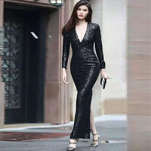 Black Sequin Long Dress