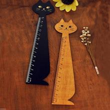 1pcs/lot NEW Vintage Cute Lucky Cat Wooden Ruler bookmark 15 CM wood straight ruler Students DIY Tools Wholesale