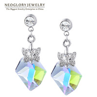 Neoglory Jewelry Crystal Drop Earrings for Women Female Multicolor Rhinestone Jewelry for Female 2017 Brand Gifts Fashion SQC