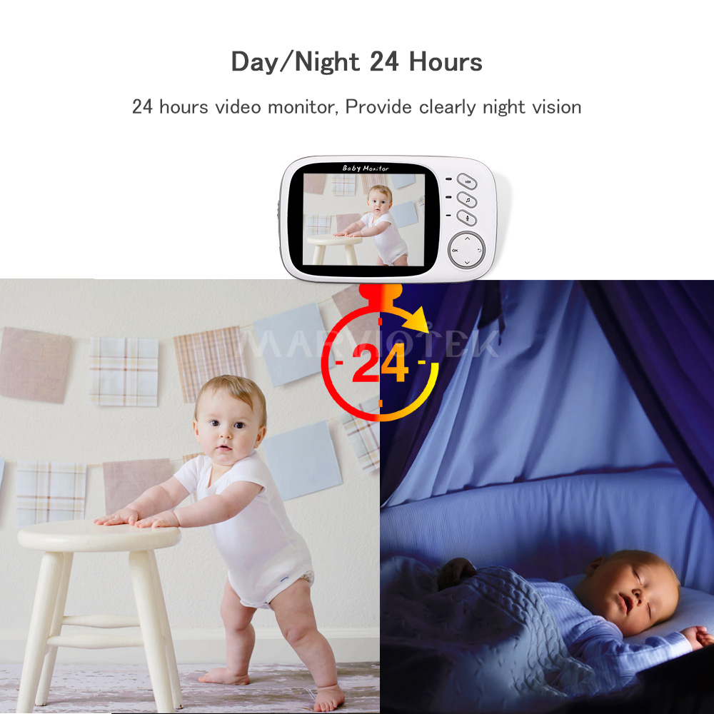 Image 2 - Baby Monitor wifi 3.2 inch LCD Night Vision 2 way Talk 8 Lullabies Temperature monitor video nanny radio babysitter baby camera-in Baby Monitors from Security & Protection
