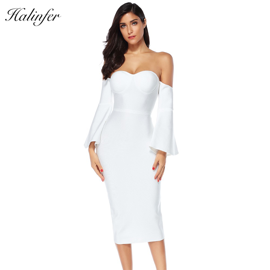Halinfer 2018 New summer women dress sexy bodycon strapless bandage dress elegant celebrity party white pink dresses vestidos