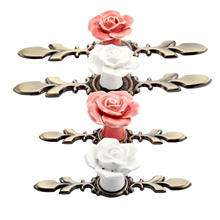 DRELD Pink Rose Ceramic Alloy Door Handles Cupboard Closet Drawer Cabinet and Knobs Vintage Furniture Kitchen Handle