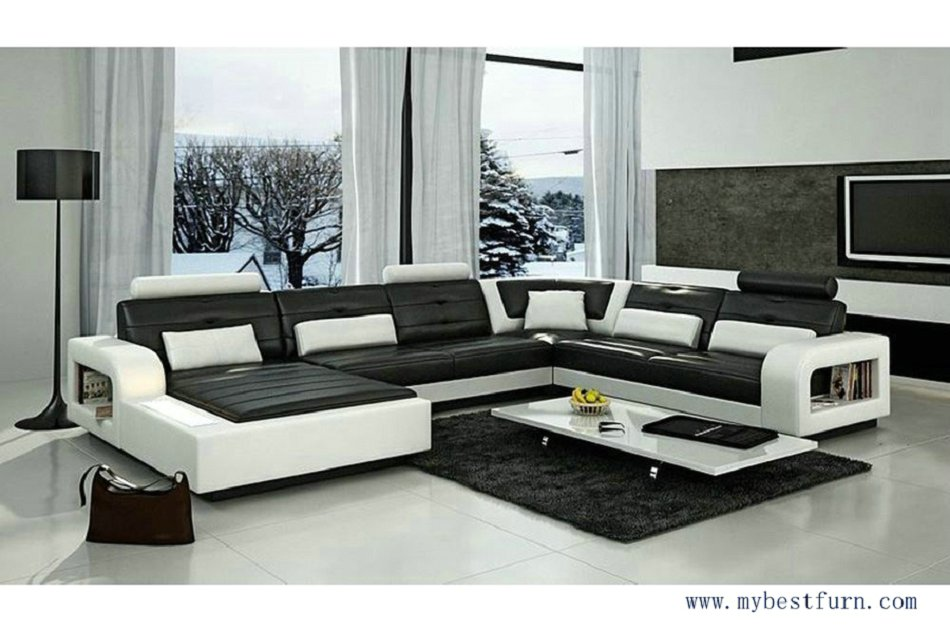 Moderne Sofa free shipping 2013 black white genuine leather solid