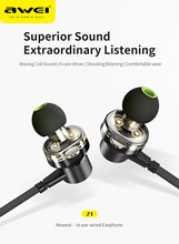 KUGOU With Mic Bass Relax Dual Dynamic Earphone Equipment AWEI Z1 Convenient Electronics Magnetic Metal