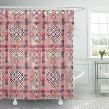 Shower Curtain with Hooks Colorful Chic Abstract Ethnic Tribal Boho Vintage Pink Aztec Batik Bohemian Carpet Decorative Bathroom(China)