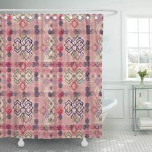 Cortina de ducha con ganchos colorido Chic abstracto étnico Tribal Boho Vintage rosa azteca Batik alfombra Bohemia baño decorativo