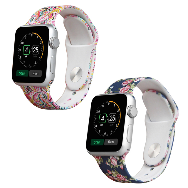 2 in 1 Band For Apple Smart Watch  38mm 42mm  Soft Silicone replacement wrist Band Strap Bracelet for Apple Watch Multi pattern
