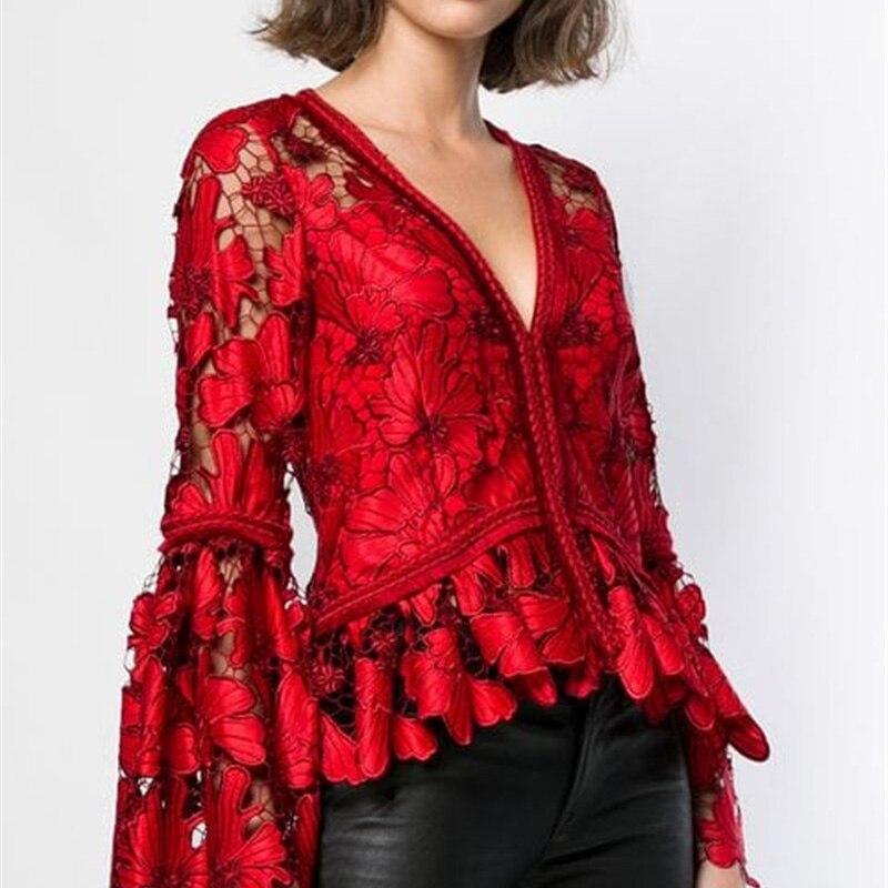Haute qualité 2018 mode col en v évider broderie rouge dentelle femmes Blouse hauts