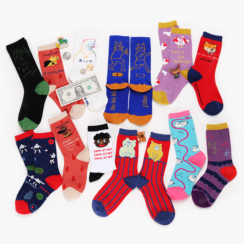SP&CITY New Vintage Chic Cotton Harajuku   Socks   Women Cartoon Cute Short   Socks   Colored Animal Patterned Funny   Socks   Art Meias