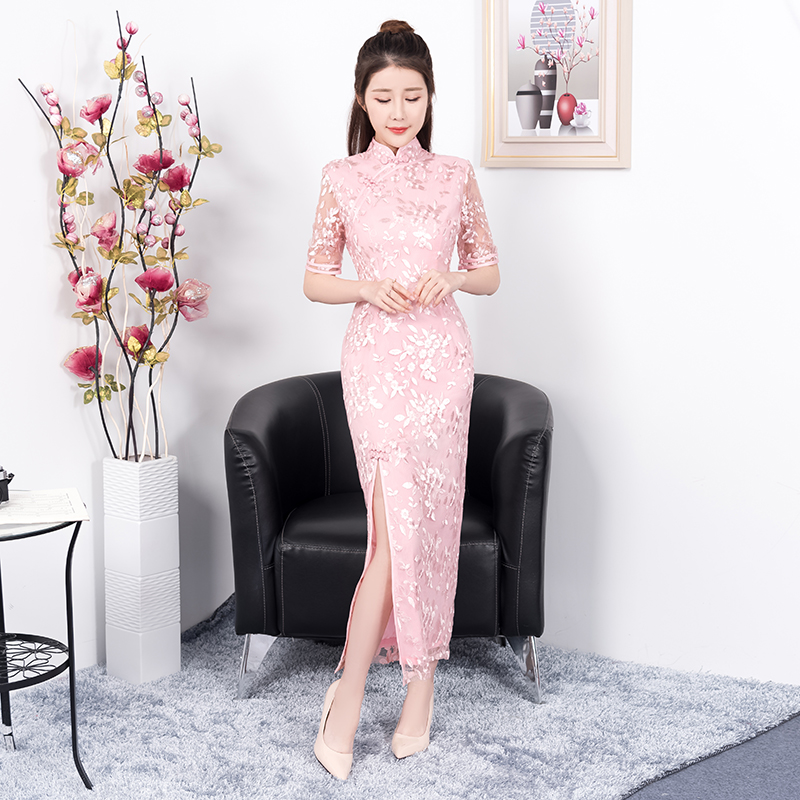 2018 Pink Summer Long Cheongsam Traditional Chinese style Dress Womens Embroidery Qipao Sexy Slim Party Dresses