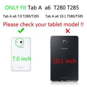 Image 2 - SM T280 מקרה עבור Samsung Galaxy Tab a6 7.0 2016 T280 T285 SM T285 כיסוי אופן בסיסי אופנה חתול הדפסת Tablet Stand מעטפת + מתנה