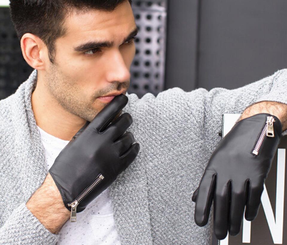 49269c8bf86920 Winter Herren Lederhandschuhe Mode Mann Ziegenleder Handschuhe Echte  Italien Leder Handschuhe Reißverschluss Stil Kühlen Handschuh A-MJK0703