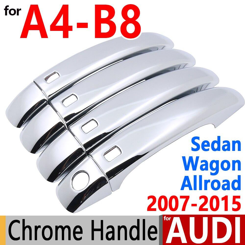 For Audi A4 B8 Chrome Door Handle Covers Trim Set Of 4Door