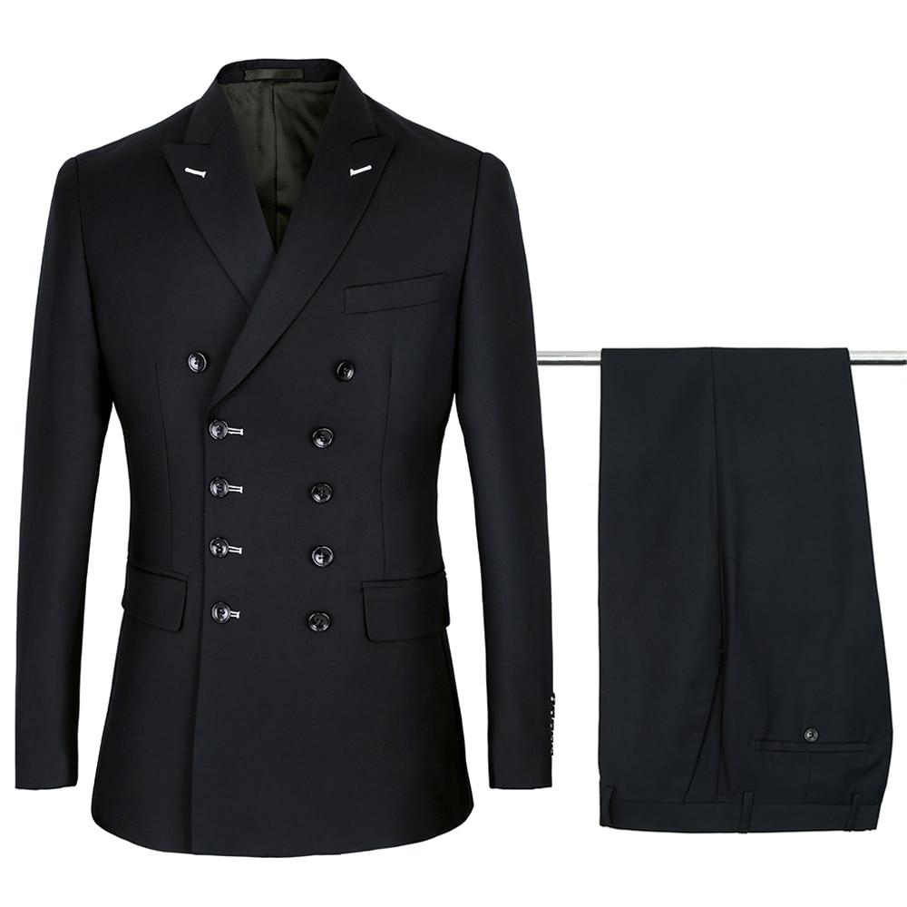 Black Double Breasted Suits Mens Wedding Suits Purple Suits Sets 2 Pcs Men Terno Costume Homme Mariage Slim Fit