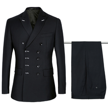 2018 black Double Breasted Suits Mens Wedding Suits Purple Suits sets 2 pcs Men Terno Costume Homme Mariage Slim Fit