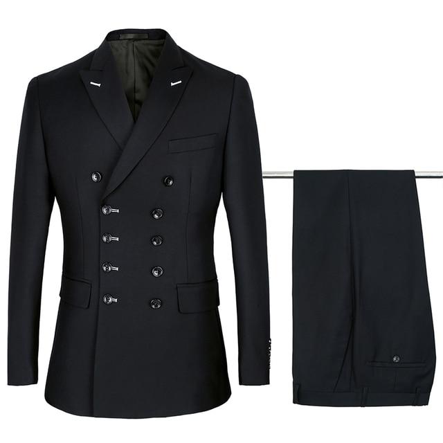 2019 黒スーツメンズ結婚式のスーツ紫のスーツセット 2 個 Terno 衣装オムマリアージュスリムフィット