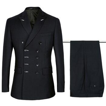 fa5b3909000b7 2019 siyah Kruvaze Takım Elbise Erkek Düğün Takımları Mor Takım Elbise  setleri 2 adet Erkek Terno Kostüm Homme Mariage Slim Fit