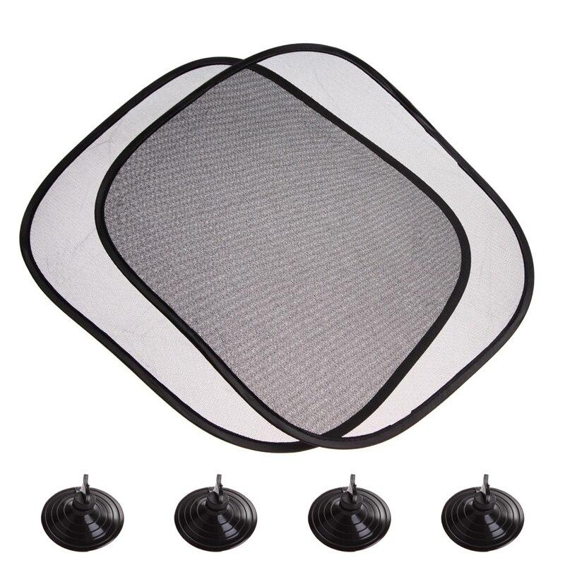 2pcs lot 44 36cm black car sun shade side rear window sunshade cover visor shield screen solar. Black Bedroom Furniture Sets. Home Design Ideas