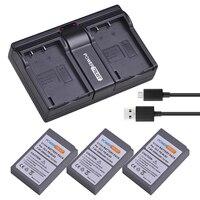 3Pcs PS BLS5 BLS 5 BLS5 BLS 50 Battery akku +Dual USB Charger for Olympus OM D E M10, PEN E PL2, E PL5, E PL6, E PM2, Stylus 1
