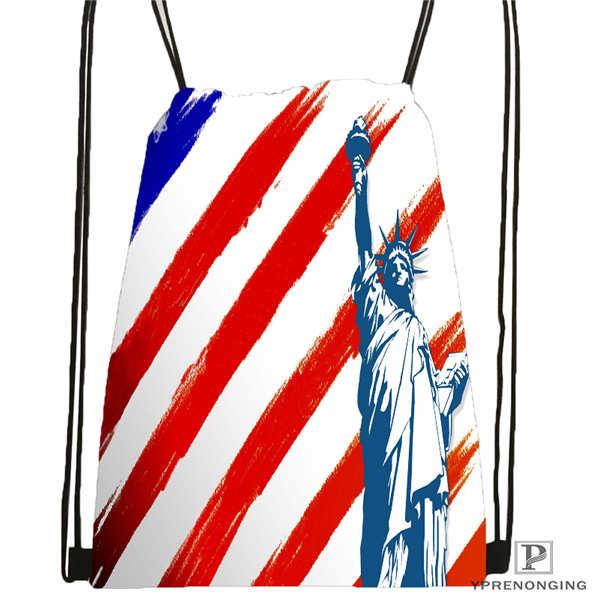 Custom Statue Of Liberty us flag Drawstring Backpack Bag Cute Daypack Kids Satchel Black Back 31x40cm