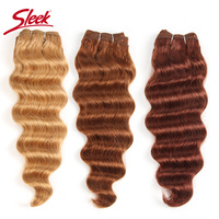 Sleek Colorful Hair Extension Pre colored 27#/30#/33# Blonde Prestige Deep Wave Hair Brazilian Human Hair Weave Bundle Remy Hair