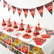 Disney Cars McQueen Kids Birthday Party Decoration Set Cars-plex Party Supplies cup plate banner hat straw loot bag fork(China)