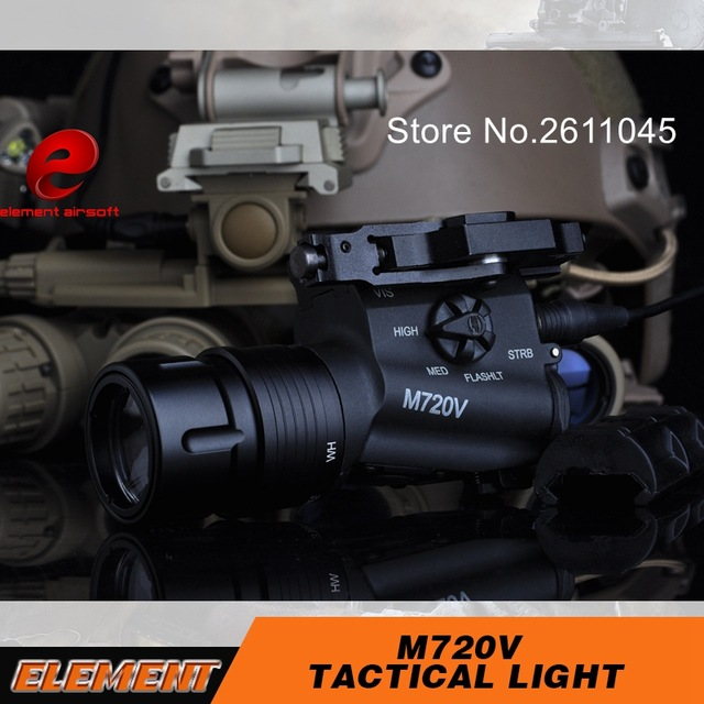 Airsoft Element M720V Airsoft Tactical Flashlight Strobe Version Tactical Gun Light Weapon Light element airsoft hunting military led weapon light flashlight pocket for rifle m952v gun tactical black 180 lumens ex 192
