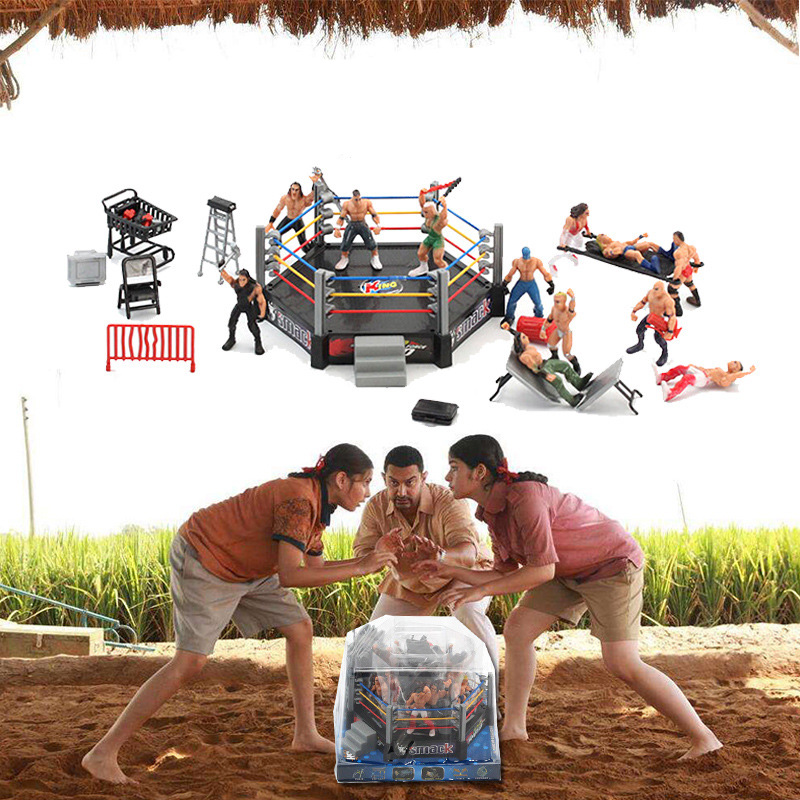 High Quality Classic Wrestling Sport Club Model The Wrestler Athlete Figure Building Wrestler Arena Model SET Boy Toy Gift
