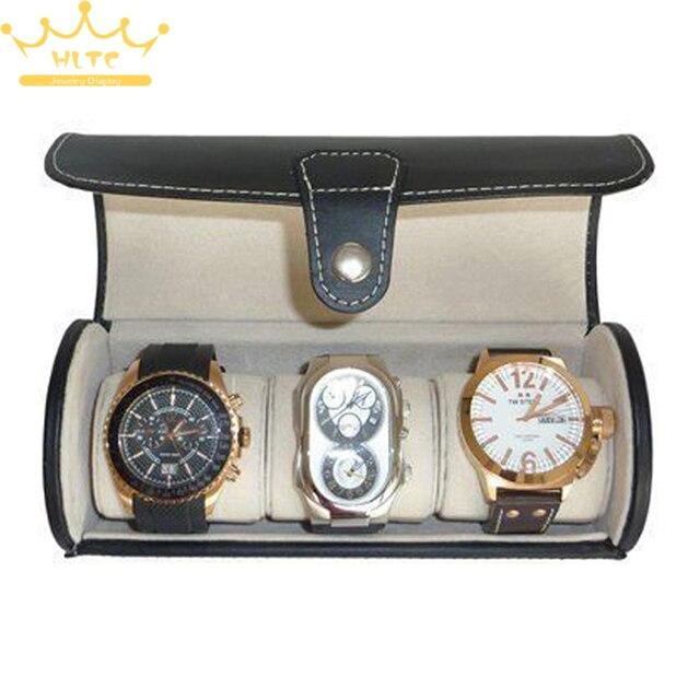 3 Watch PU Leather Black Travel Roll Case Jewelry Storage Box Holder