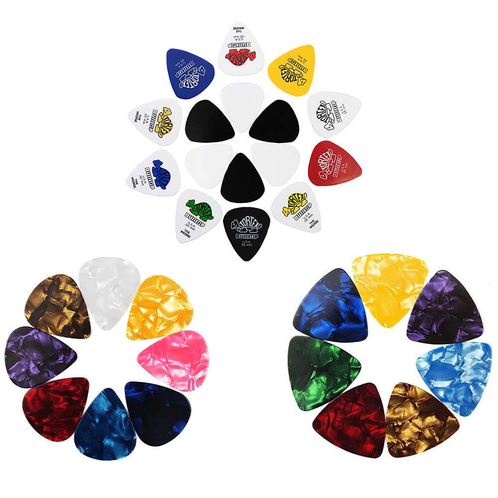 10 Pieces Dunlop Tortex Celluloid Guitar Picks Mediator Thickness 0.46mm 0.5mm 0.71mm 0.96mm-Color Random