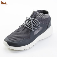 INOE 2018 new fashion style man summer shoes air mesh for men sneakers non slip & light sole breathable grey black 36 44 slip on