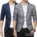 Envío gratis hombres chaquetas 2016 nueva moda floral chaqueta delgada 2 botones ropa de Camuflaje ocasional impreso blazer masculino