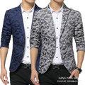 O envio gratuito de jaquetas homens terno 2016 nova moda blazer floral fino 2 botões de roupas de Camuflagem impresso ocasional blazer masculino