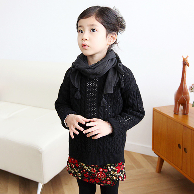 2016 Christmas Girls Sweater Knitted Children Sweaters Spring Autumn Kids Clothes 100% Cotton Long Sleeve Outwear Black Gift