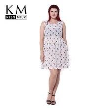 Kissmilk Plus Size Women Fashion dress Summer Lovely Cartoon Dog Print Cinched Empire Waist O-neck A-Line Sleeveless Dress
