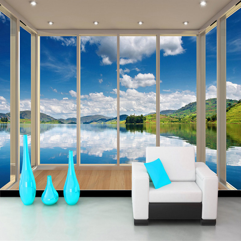 Custom Photo Wallpaper Blue Sky White Clouds Lake 3D Balcony Window Scenery Wall Painting Wallpaper For Living Room Large Murals children room blue sky ceiling wallpaper white clouds wallpaper for kids bedroom blue sky and white clouds wallpaper paper roll