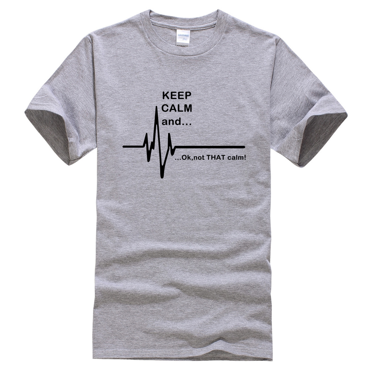 2017 summer T-shirts Keep Calm and...Not That Calm Funny EKG Heart Rate brand clothing men's T-shirt harajuku crossfit t shirt