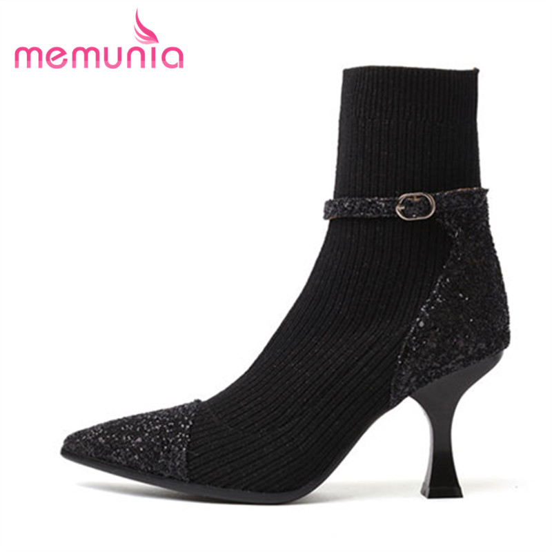 MEMUNIA 2018 arrive fashion ankle boots elegant thin high heels autumn winter boots for women classic cloth+pu leather shoesMEMUNIA 2018 arrive fashion ankle boots elegant thin high heels autumn winter boots for women classic cloth+pu leather shoes