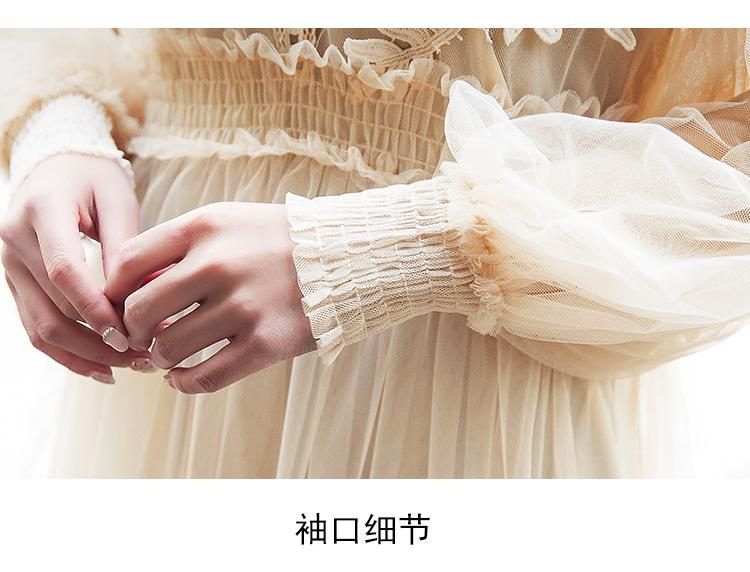 19 New Women Fashion Dress Stand Collar Lantern Sleeve Mesh Dress See-through Lace Embroidery Fairy Dress Femme Vestidos Robe 11