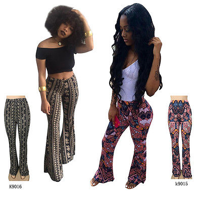 Ladies Women Flower Casual Soft Pant Womens Floral Printed Bell Bottom Wide Leg Flare Stretch High Waist Boho Pants