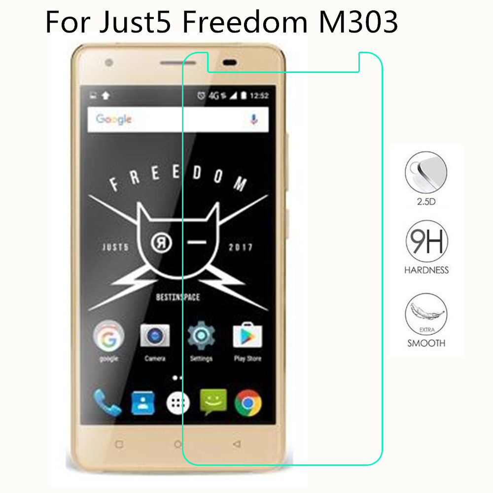 """Just5 Freedom M303 Tempered Glass 9H Ultra-thin Not Full Cover LCD Front Screen Protector For Freedom M303 5.2"""" Protective Film(China)"""