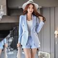 Original 2017 Brand Short Pants Female Spring England Style Plus Size Elegant Casual Sky Blue Shorts Women Wholesale
