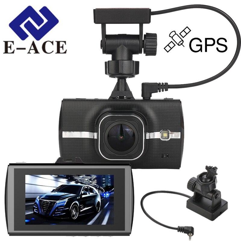 E-ACE Car Dvr GPS Tracker Full HD 1080P Dash Cam Video Recorder Camera ADAS LDWS Recorder Camcerder Night Vision Registrar