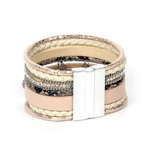 Factory Wholesale Europe and United States Accessories For Women Luxury Zircon Star Bohemia Bangles 7 layers Leather Bracelet