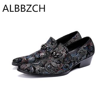 New mens printing leather casual shoes high heels pointed toe slip on fashion party dance shoes men career work shoes size 37 46