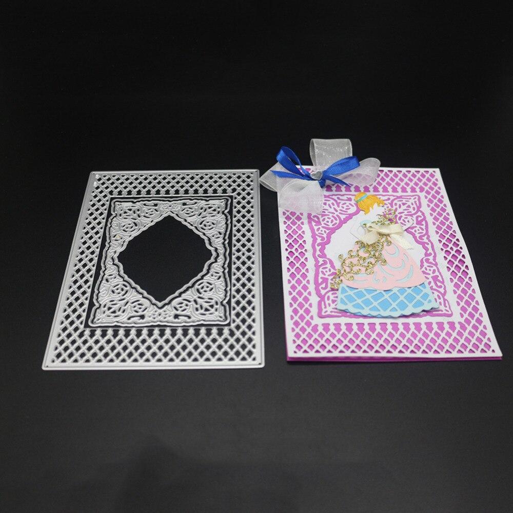 Скрапбукинг решетки алмаза кружева форма рамки стали резка металла прямоугольник рамки форма книги фотоальбом Art карты высечки
