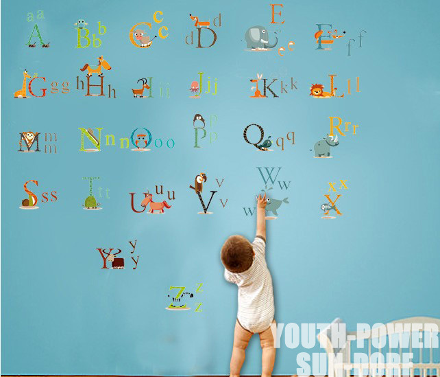 26 Animals Alphabet Baby Kids Nursery Wall Art Sticker Vinyl Decals Boys Girls Home Room Decor Decorations Removable Educational-in Wall Stickers from Home ...  sc 1 st  AliExpress.com & 26 Animals Alphabet Baby Kids Nursery Wall Art Sticker Vinyl Decals ...
