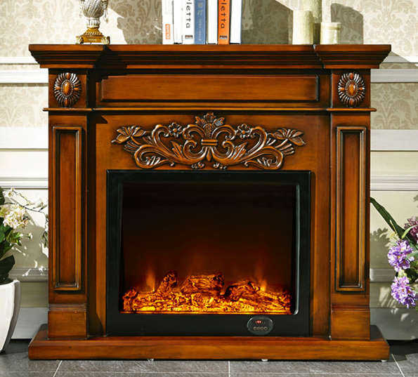 Wooden Fireplace: Decorative Fireplace W130cm English Style Wood Mantel With